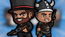 Two dudes with a top hat and a viking hat