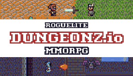 Dungeonz a warrior fighting a bandit and a mage fighting a bat